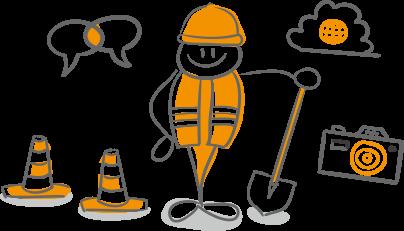 建設現場をサービスと人でサポートしています。